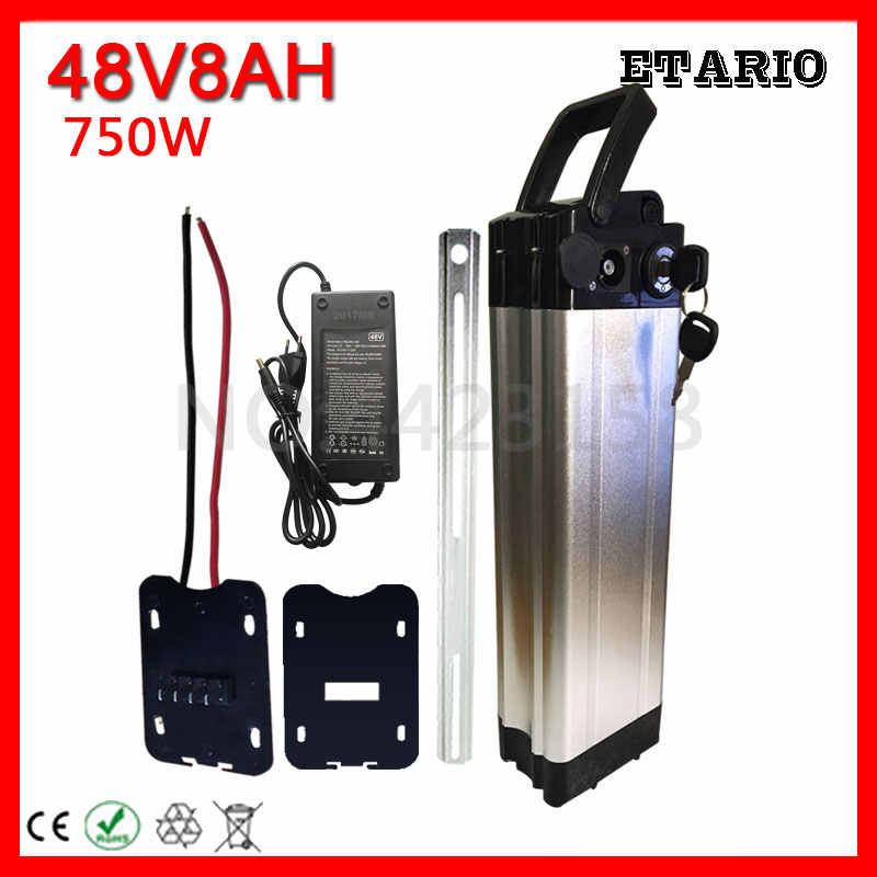 EU US No Tax Silver Fish 750W 48V 8AH Electric Scooter Ebike Electric Bicycle Lithium Battery for BBS01 BBS02 Motor With Charger