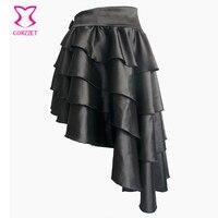 Clubwear Sexy Punk Rock Clothing Low Waist 4 Layers Ruffles Asymmetical Gothic Skirt Women Vintage Steampunk Skirt Victorian