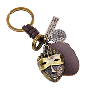 UBEAUTY Punk Art Genuine Leather Cut out men women keychain bag pendant Alloy Mask Car key chain ring holder For Men Jewelry(China)