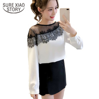 New Arrived 2018 Spring Blouse Women Office Lady Shirt Female Lace Clothing Women T Long Sleeve