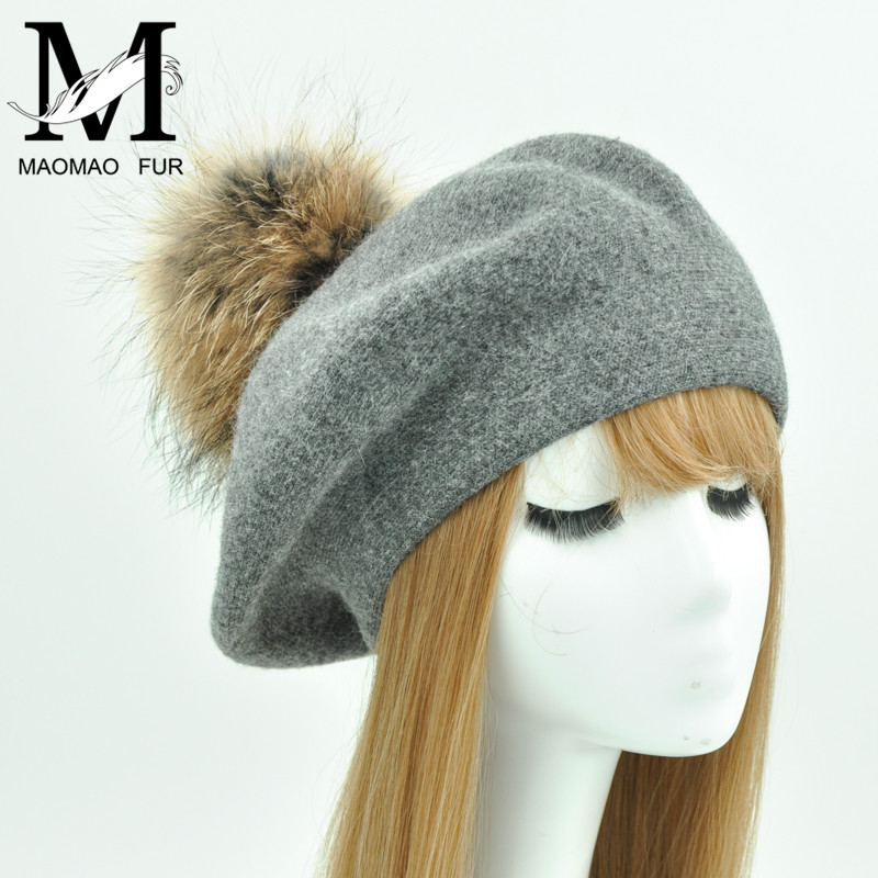 2fb9f4dba5070 Detail Feedback Questions about Fashion Winter Wool Felt Berets Women Real  Racoon Fur Pom Pom Hat Spring Female Big Fur Ball Flat Berets Cap on ...
