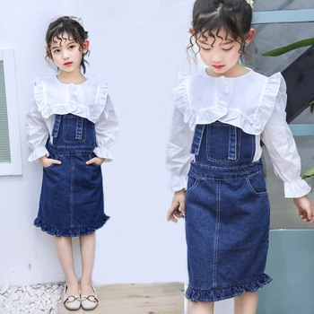 Children Clothing Spring Autumn Shirts+ Dress Girls Clothing Sets Striped Teen Clothes For Girls 8 10 12 Years