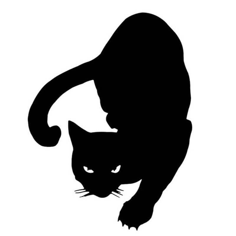 12*16см кошка наклейки наклейки автомобиль мотоцикл аксессуары автомобиль для укладки черный/серебристый С2-0247