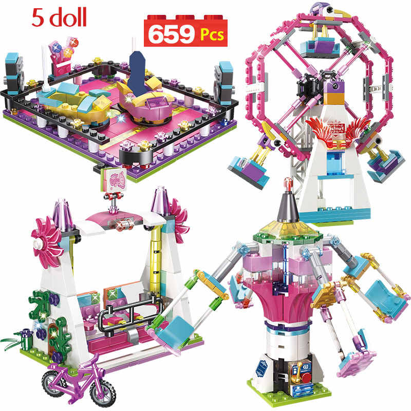 Parque De Diversões Montanha Russa Blocos tijolos Compatíveis Amigos Brinquedos Figura Modelo Hobbie Crianças Meninas