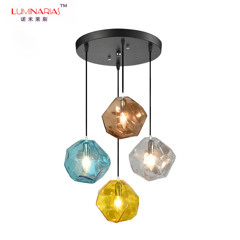 все цены на Retro Loft Multicolor Glass Pendant Lamp Art Design Dinning Room Cafe Bar Pendant Light Home Decoration Lighting AC 110V 220V