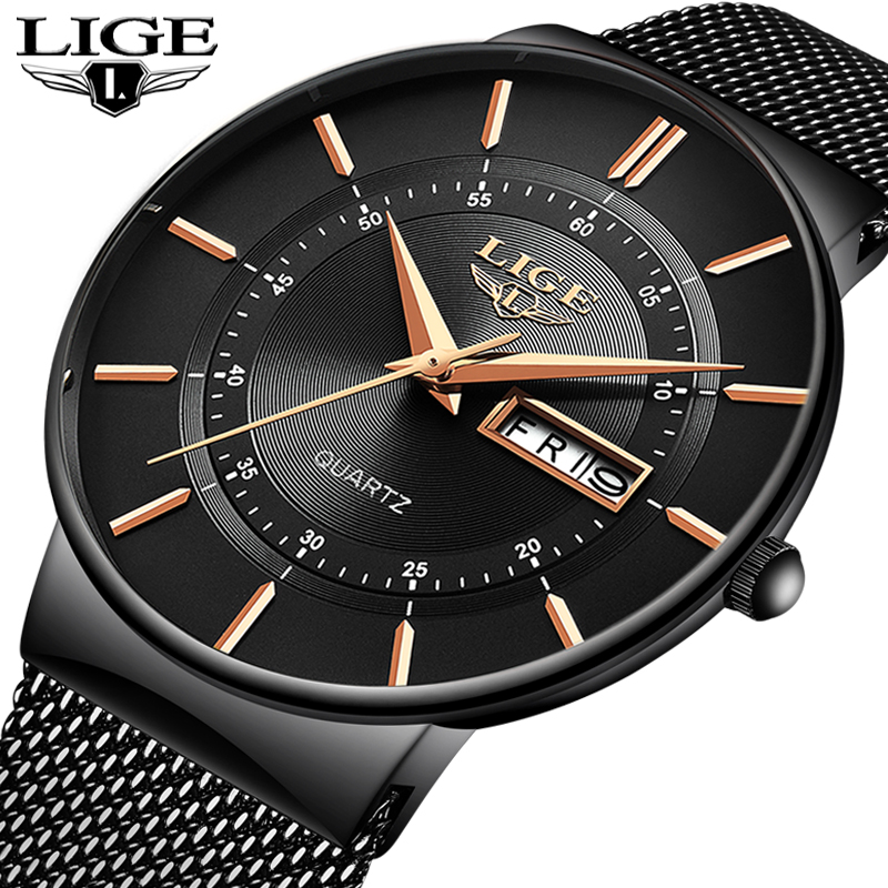 LIGE Mens Watches Top Brand Luxury Waterproof Ultra Thin Date Clock Male Steel Strap Casual Quartz Watch Men Sports Wrist Watch
