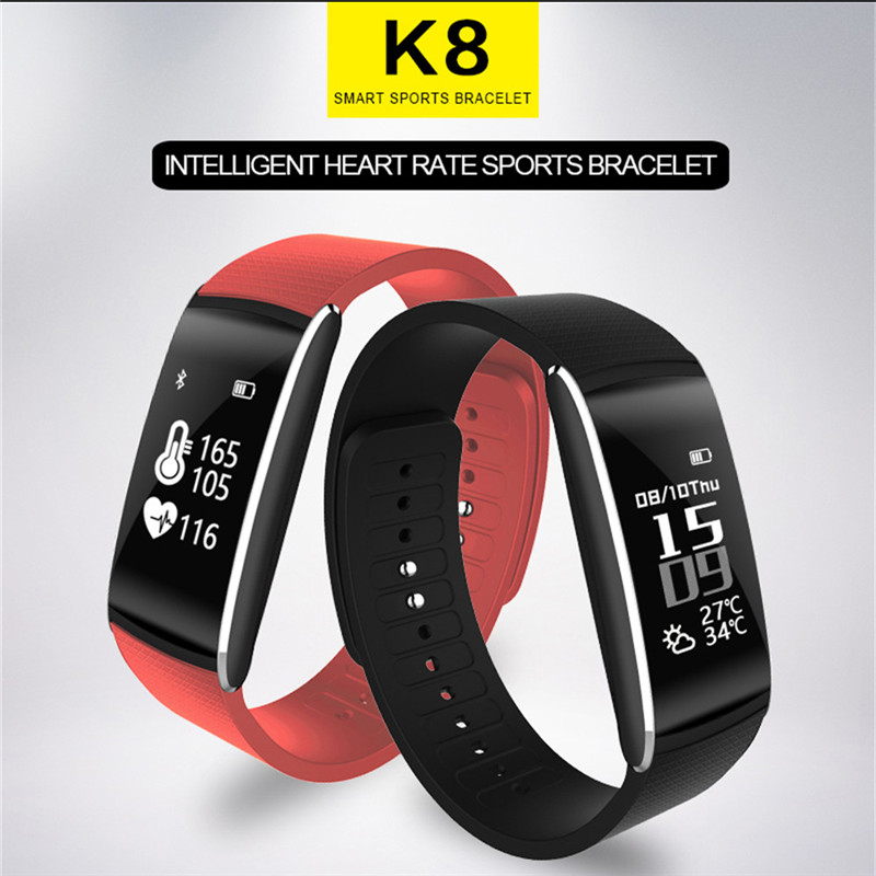 K8 Bluetooth Sport Health Heart Rate Wristband Watch Fashion Luxury Brand Men Women Business Smart LED Sport Bracelet Wristwatch aidis digital led smart bracelet watch men women pedometer and time and temperature display sport silicone wristband 6 colors