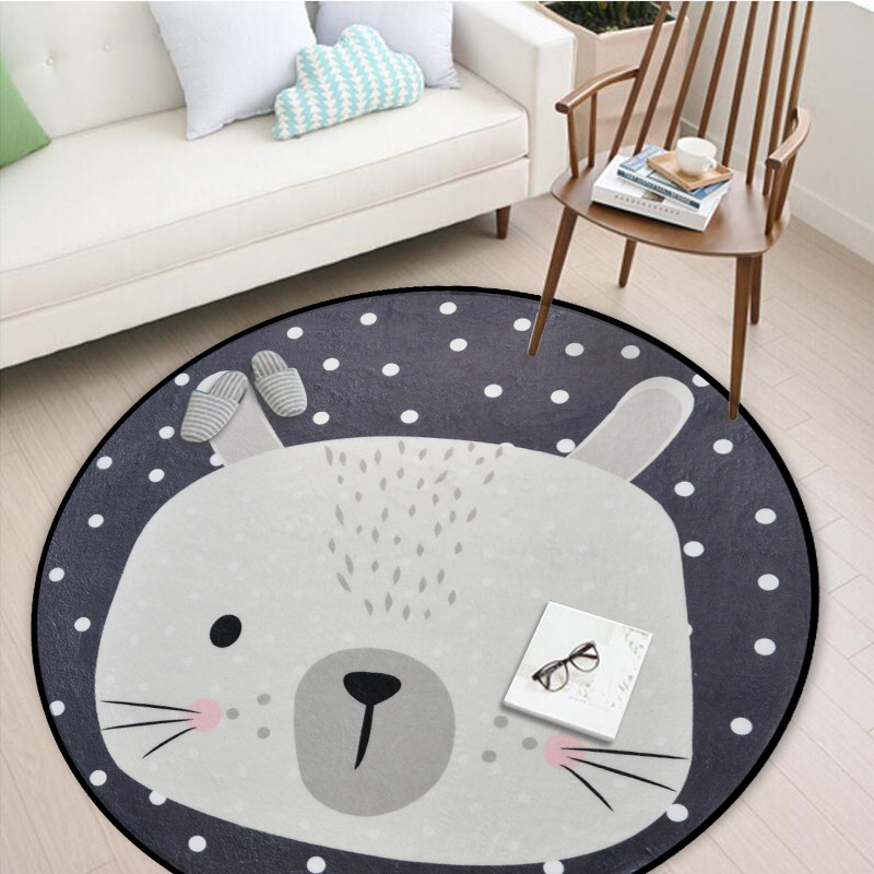 Nordic White Grey Children Kids Soft Play Floor Mat Cartoon Rabbit Bear Fox Round Tapete Living