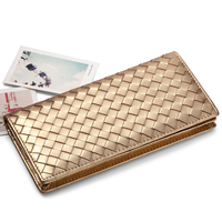 5 Colors Designer Wallet Woman Brand Gold Leather Women Wallets Genuine Sheep Leather Long Female Woven Wallet Purses