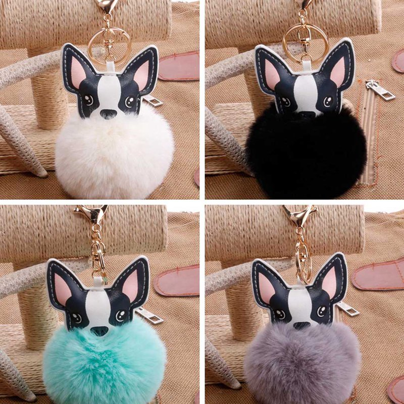 2018 New Fashion Style Pu Fur Ball French Bulldog Key Chain Rabbit Fur Ball Key Chain Pompon Key Ring Bag Charm Gifts