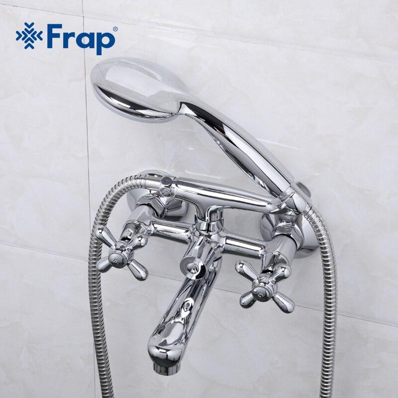 Frap 1 компл.. душ для ванной кран холодной и горячей воды смеситель 180 градусов вращения короткий нос двойная ручка F3025