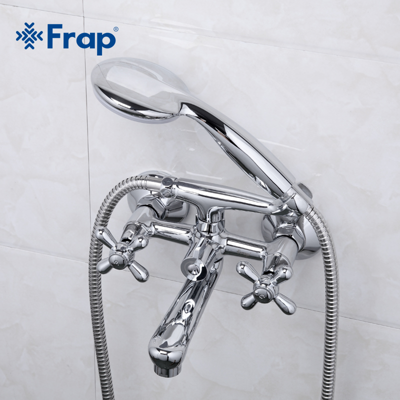 Frap 1 Set Shower Bath Faucet Cold and Hot Water Mixer 180 Degree Rotation Short Nose Double Handle F3025 frap colorful handle rubber cover shower faucet cold and hot water single handle with shower bar and basin faucet f1034 f2434