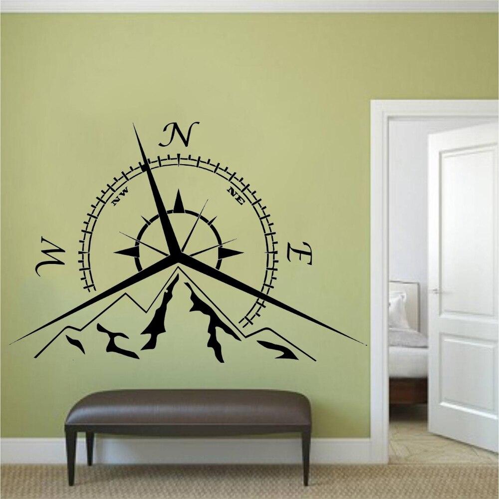 Home Decor Mountain Compass Rose Wall Sticker Nautical Decal Vinyl Art Mural AY1367