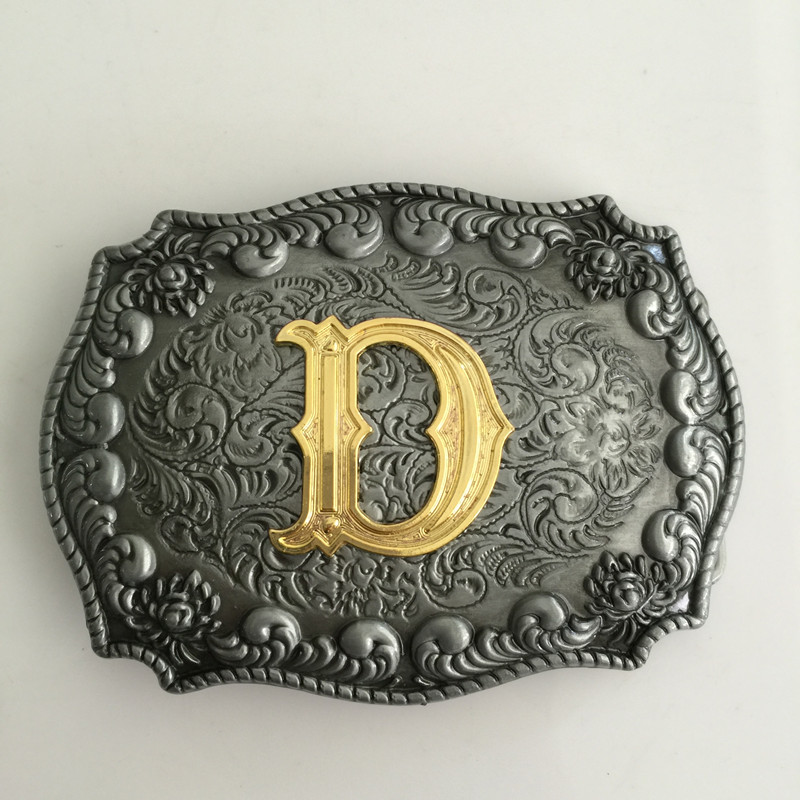 INITIAL Belt Buckle H Letter ALPHABET Western Cowboy SILVER Gold HIGH QUALITY