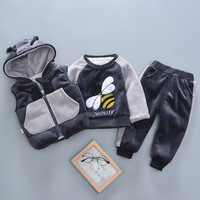2019 winter Baby boys clothing sets infant cotton thick velvet warm hooded vest+tops+pants 3pcs baby tracksuits outfits