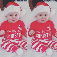 Pudcoco 2Pcs My First Christmas Newborn Baby Girl Boy Romper Stripe Pant Outfit Long Sleeev O
