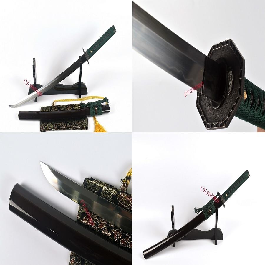 Battle Ready Clay Tempered T 10 Steel Japanese Wakizashi Katana Sword Shubo Zukuri Kissaki