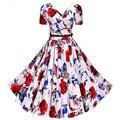 Женская Sexy V-образным Вырезом Цветочные Печатный Ретро Платье Vintage 50 s 60 s стиль Pin up Рокабилли Качели Бальные Платья Плюс Размер XXXL 4XL