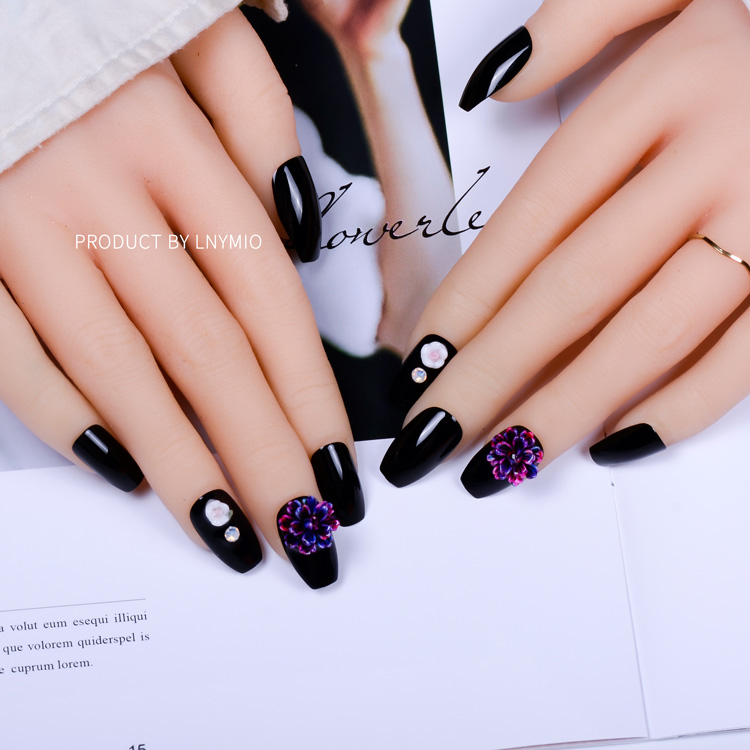 Flower fake nails luxury decoration black press on tips for wedding ...