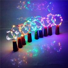 Luz para botella de cerveza con forma de corcho, 1M, 10LED, cadena de cobre plateada, lámpara para Navidad, boda, decoración de luz de hadas