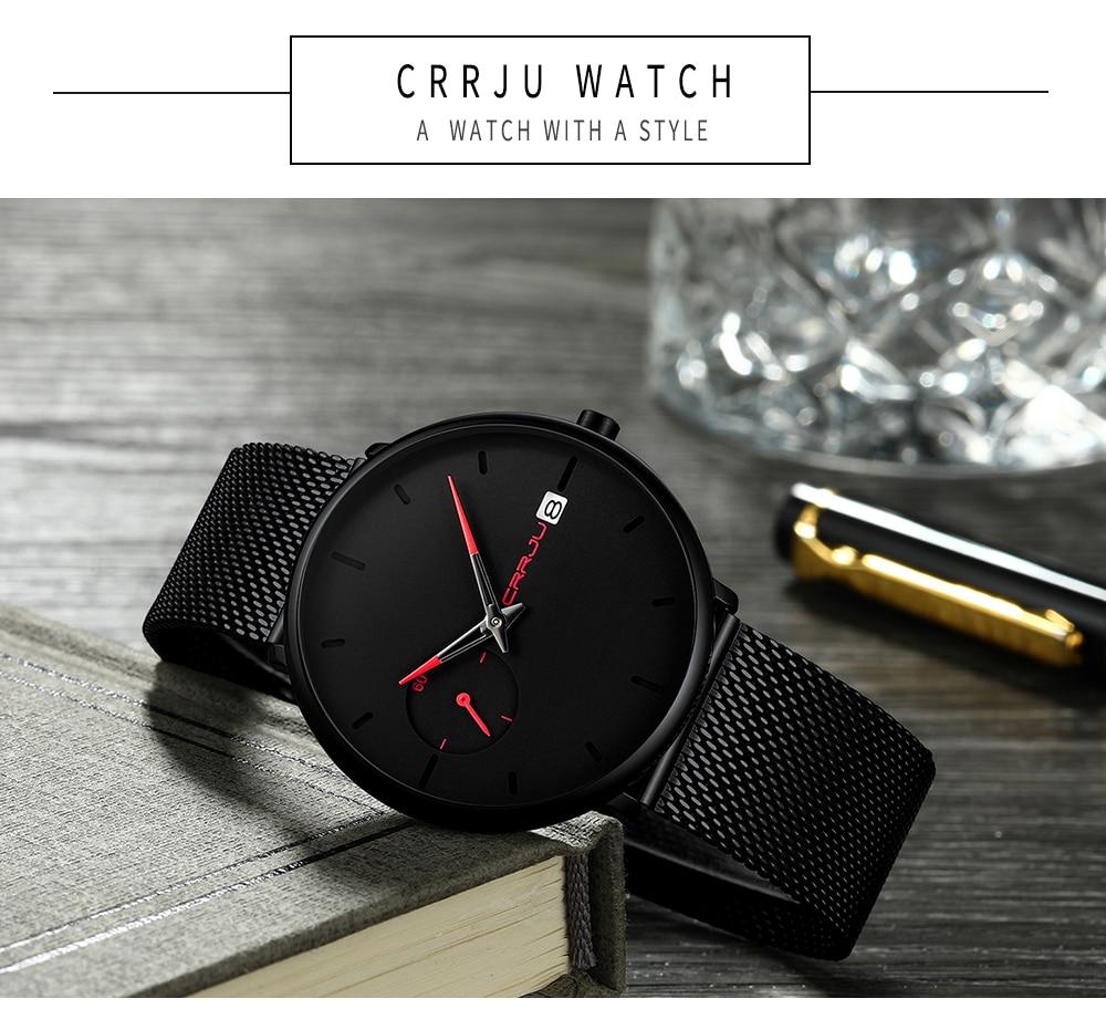 Crrju Sports Date Mens Watches Top Brand Luxury Waterproof Sport Watch Men Ultra Thin Dial Quartz Watch Casual Relogio Masculino 17