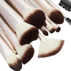 Image 3 - Jessup 15 шт., цвета шампанского, Золотые кисти для макияжа, косметические инструменты, профессиональный макияж, пудра, основа для макияжа, тени для век, Кисть для макияжа