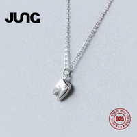 Jung Fashion Sweet Cute Personality AAA Zircon Teeth 925 Sterling Silver Jewelry OL Pendant Necklace Women