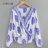 COLROVIE Printed Lace Up Front Wrap Top 2018 Spring Asymmetrical Long Sleeve Tribal Top V Neck