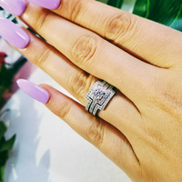 Moonso Luxury 3 pcs 925 Silver Austrian Crystal Ring Princess CZ Engagement Wedding Ring for Women LR1431S