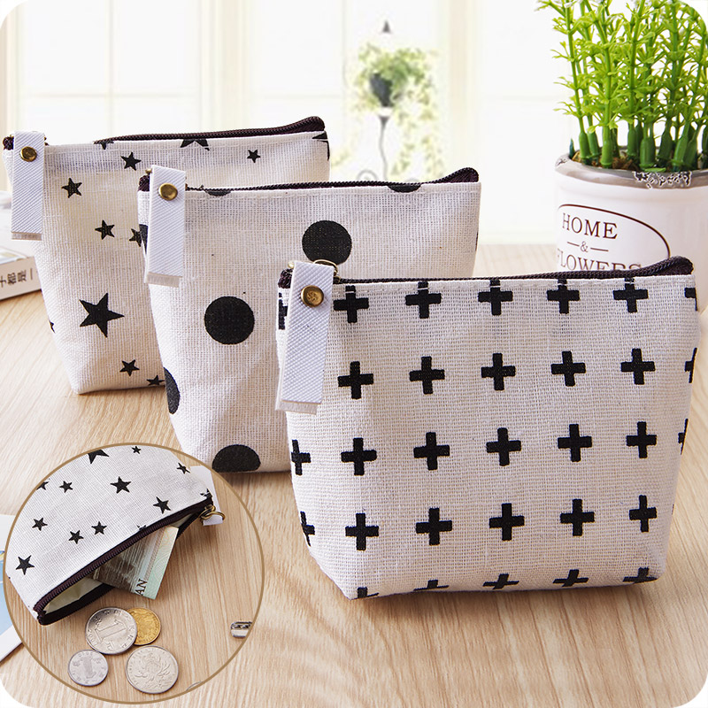 New Simple Nordic Style Purse Canvas Children Lady Girl Zipper Bag Women Pocket Pouch Keys Kids Coin Bag Case