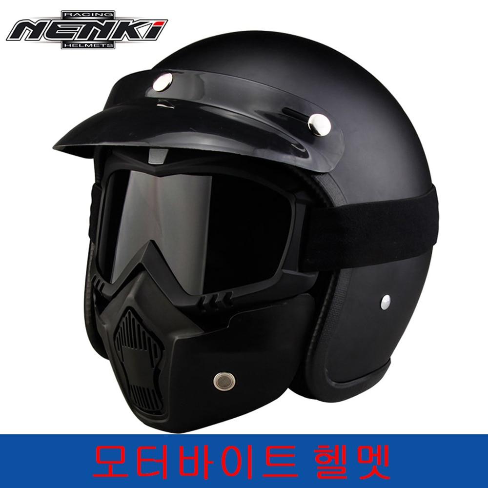 NENKI casque Moto croiseur Vintage Chopper casque Moto equitation visage ouvert casque Moto Casco DOT Capacete masque lunettes