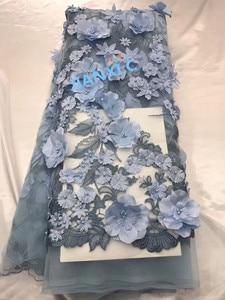 Image 3 - אופנה אפריקאית תחרת בד 3d פרח עם רקמת JIANXI.C 82816 צרפתית טול תחרה בד לחתונה שמלה