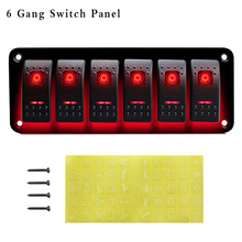 6 Gang Car Marine Boat Switch Panel 12V 24V Circuit Breakers Waterproof Boat Marine Car Rocker Switch Panel Red Blue LED Light