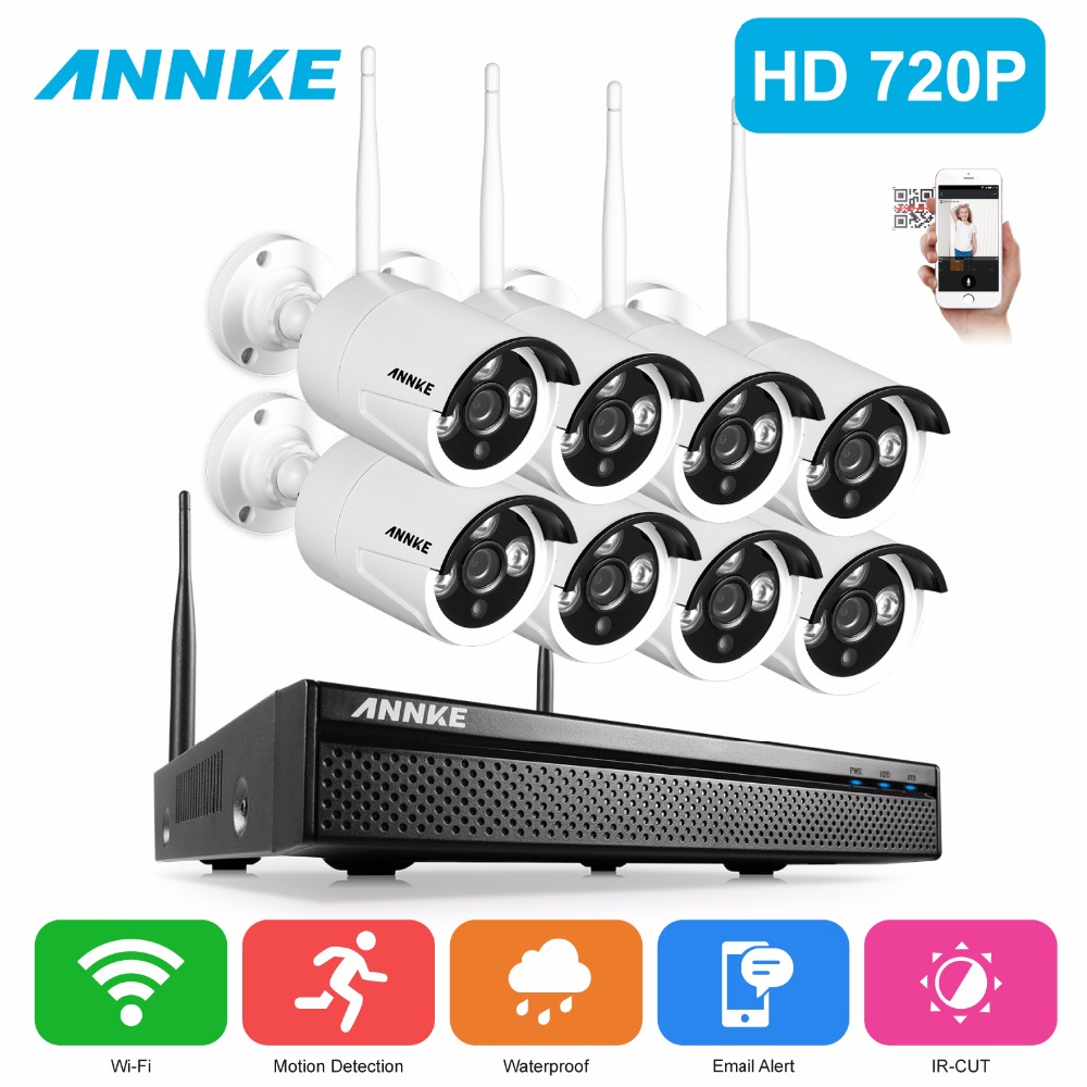 ANNKE 8CH CCTV System Wireless 720P NVR 8PCS 1.0MP IR Outdoor P2P Wifi IP CCTV Security Camera System Wireless Surveillance Kit deecam 8ch nvr kit 720p outdoor ip camera system p2p cloud 8ch 720p nvr system easy access supports pc