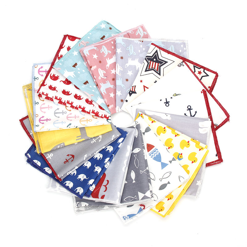 New High Quality Men's 100% Cotton Animals Handkerchief For Man Fish Bear Print Pocket Square Chest Towel SuitS Hankies 25*25cm