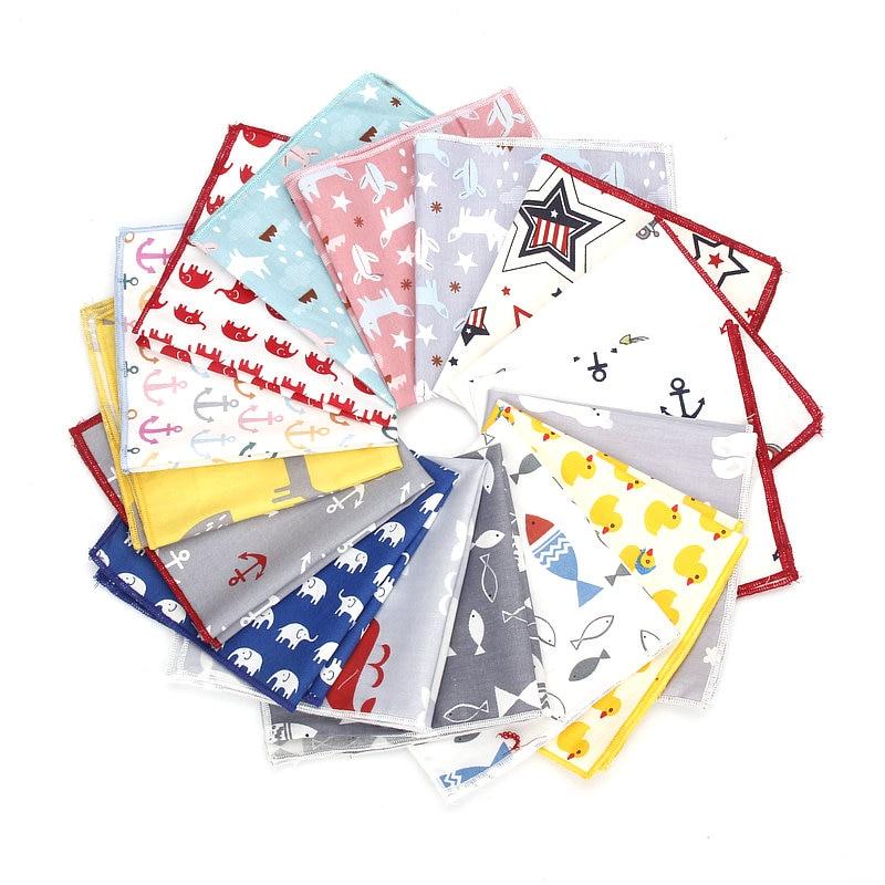 New High Quality Men's 100% Cotton Animals Handkerchief For Man Fish Bear Print Pocket Square Chest Towel SuitS Hankies 25*25cm