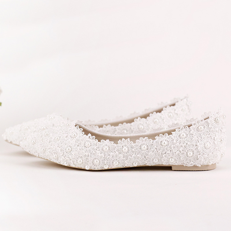 Bout Flats Plat Talons Femmes Chaussures Perle Pointu D'honneur Et white De Mariée Demoiselle Danse Appartements Partie Fleur red Flats Dentelle Flats Mariage Pink Belle qgw8qrxA4
