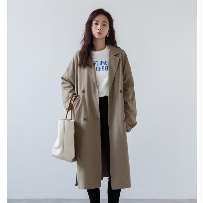 Casual   trench   women coats loose long   trench   coats womens spring autumn Fashion Windbreaker bat sleeve Female outwear A5735
