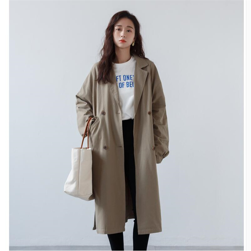 Casual trench women coats loose long trench coats womens spring autumn Fashion Windbreaker bat sleeve Female outwear A5735