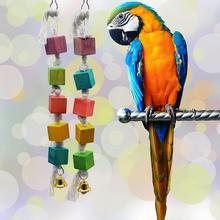 Bird Chewing Toy Parrot Parakeet Budgie Wooden Blocks Attract Pets Attention Gnawed Wood Climb Hammock String