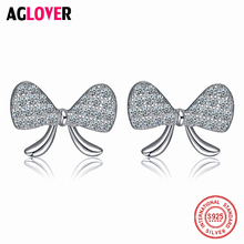 100% 925 Sterling Silver AAA Zircon Crystal Sparkling Bow Stud Earrings With Clear CZ Jewelry For Women Girl moonmory sparkling bow bangle s925 sterling silver bow tie shaped bracelet with clear zircon for woman diy silver jewelry bangle