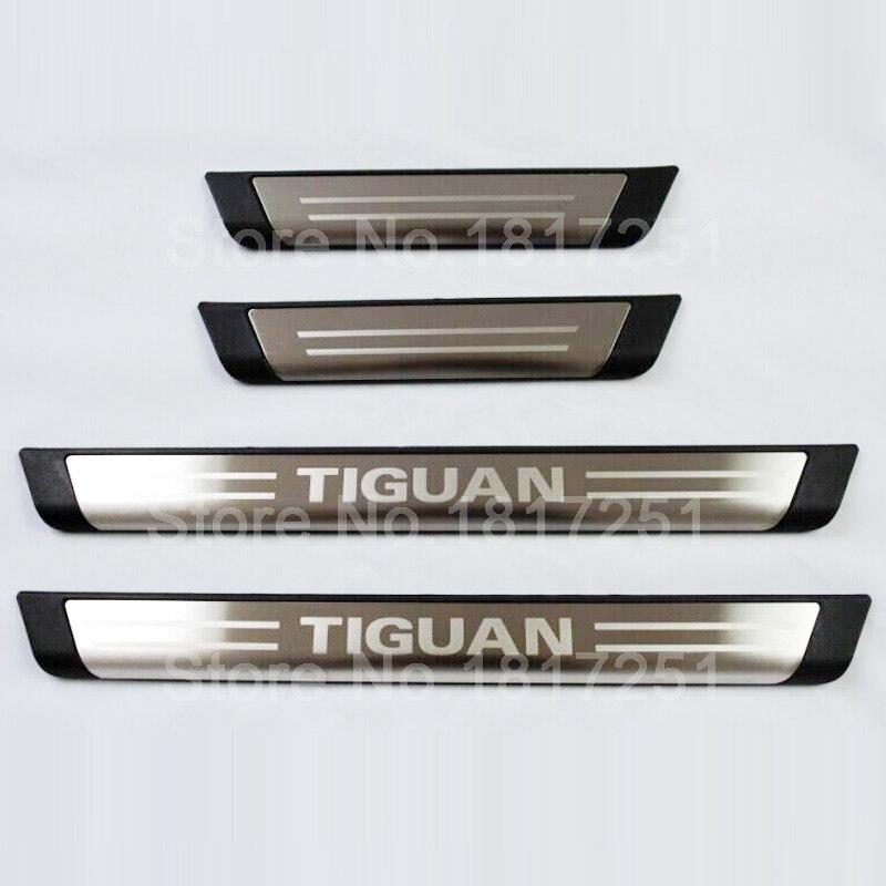 Prix pour Livraison Gratuite Porte Sill plat D'usure En Acier Inoxydable Bienvenue Pédale Accessoires De Voiture Pour VW Tiguan