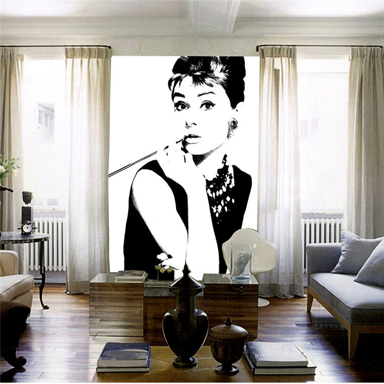 Delightful Elegant Audrey Hepburn Wall Mural POP Art Photo Wallpaper Canvas Silk  Classic Black And White Wallpaper Room Decor Bedroom In Wallpapers From  Home ... Part 32