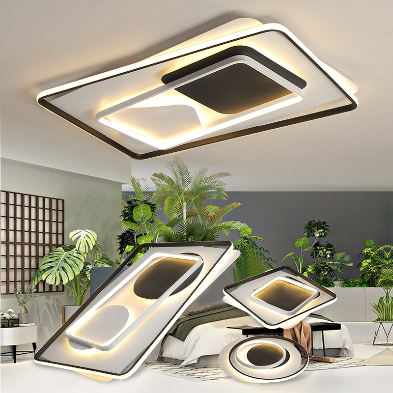 Modern Ceiling Lights LED Lamp for Living room Bedroom Lustre Round Square Metal bedroom Lights LED Ceiling Lamp with remote modern metal led dimmable white black square lamp for bedroom corridor living room ceiling lamp