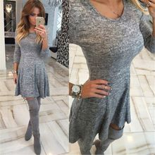 Female Hot Sale Vintage Style Sexy Clothing Grey Dresses Woman  Long Sleeve Color Block Round Neck Bodycon Dress