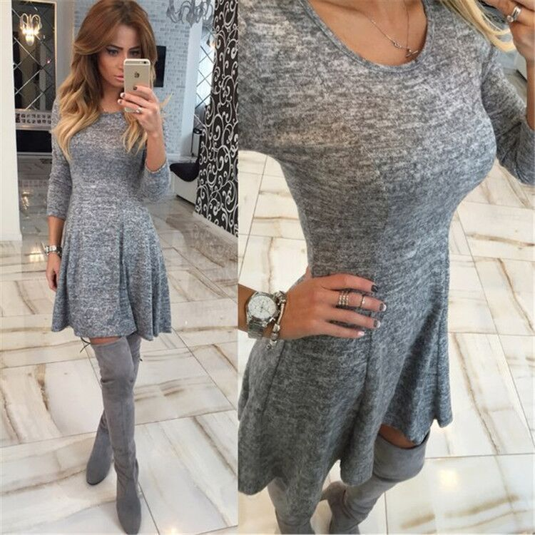 Female Hot Sale Vintage Style Sexy Clothing Grey Dresses Woman Long Sleeve Color Block Round Neck