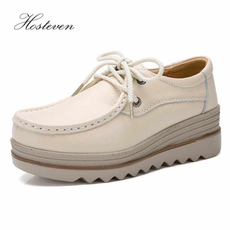 Hosteven/Женская обувь; кроссовки; лоферы; мокасины; балетки из натуральной кожи; женская обувь на плоской платформе; женская обувь