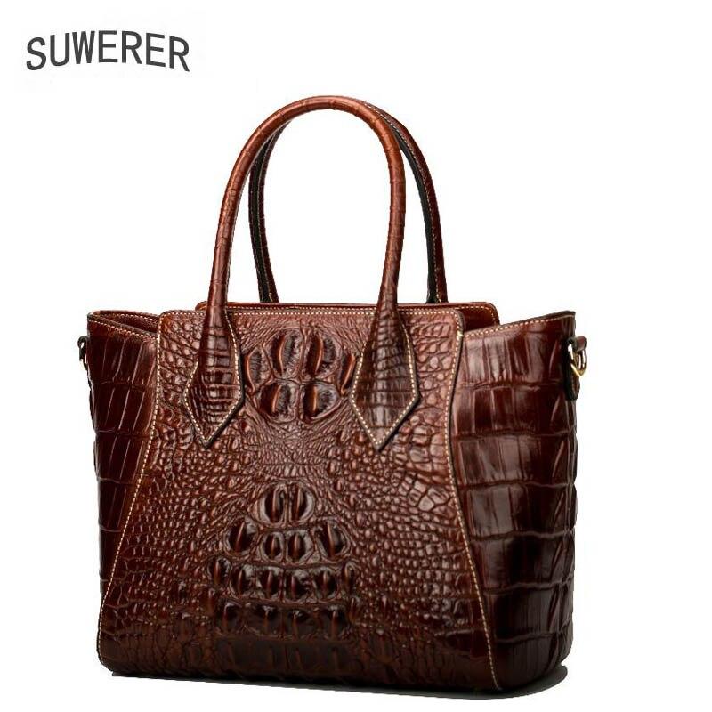 SUWERER 2020 New women genuine leather bag fashion Crocodile pattern embossed women real leather handbags shoulder  bag
