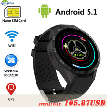 Comparar KW88 Kingwear Android 5,1 Smart Watch teléfono MTK6580 quad core 1,3 GHz 4 GB ROM 512 MB RAM 1,39 pulgadas 400*400 pantalla w 2.0MP Cámara