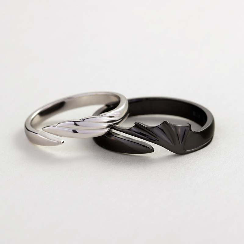 HTB1e3FBc8WD3KVjSZKPq6yp7FXaL Silvology 925 Sterling Silver Angel And Devil Couple Rings Original Creative Texture Romantic Rings For Lovers Festival Jewelry
